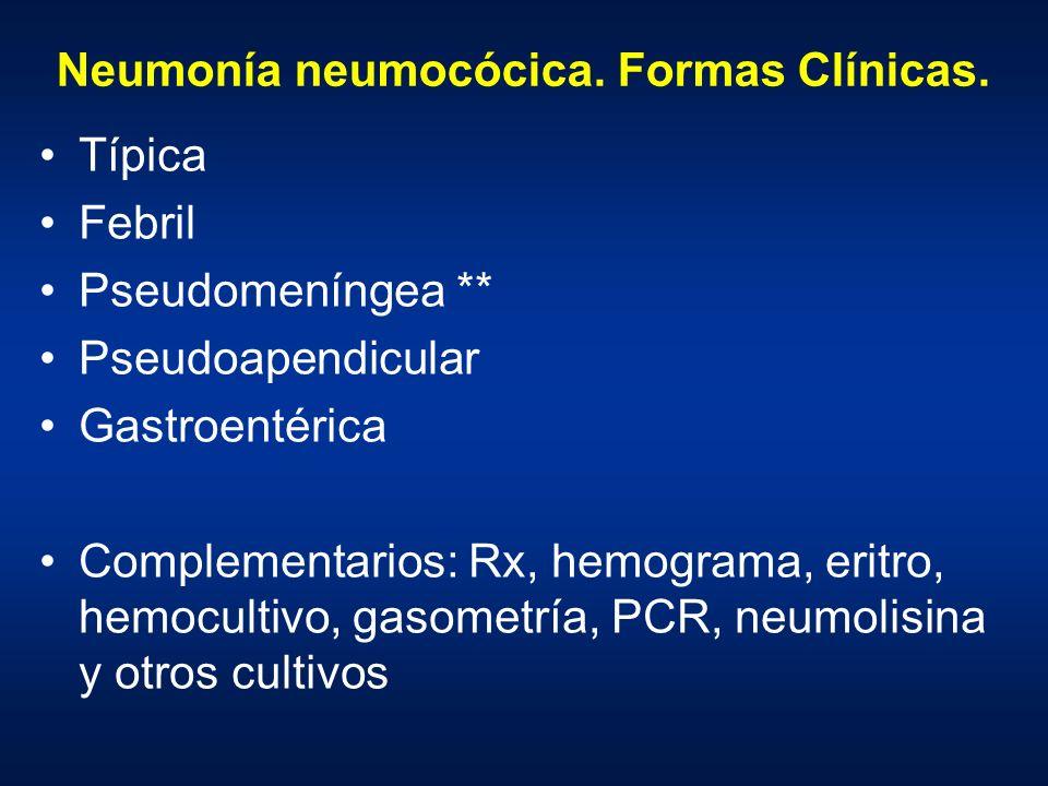 Neumonía neumocócica. Formas Clínicas.