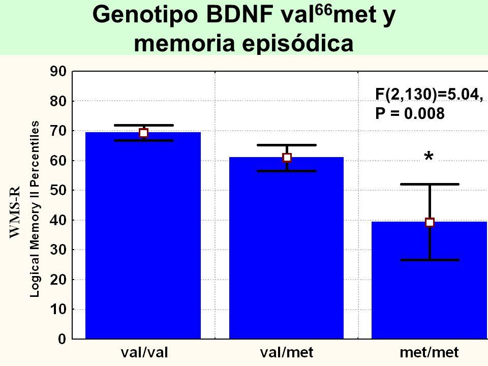 Genotipo BDNF val66met y memoria episódica