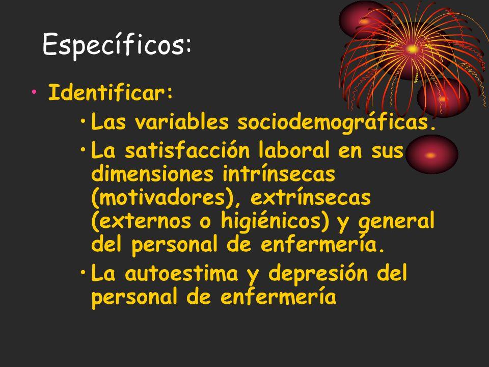 Específicos: Identificar: Las variables sociodemográficas.