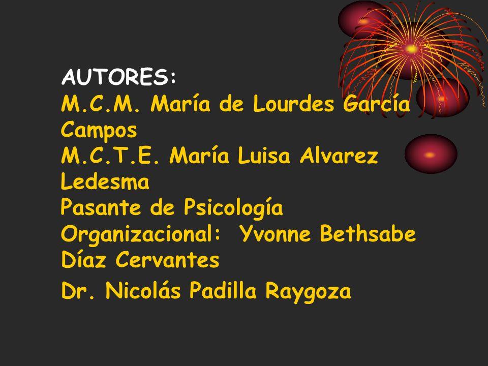 AUTORES: M. C. M. María de Lourdes García Campos M. C. T. E