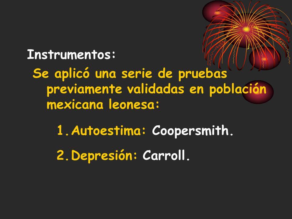 Instrumentos: Se aplicó una serie de pruebas previamente validadas en población mexicana leonesa: Autoestima: Coopersmith.