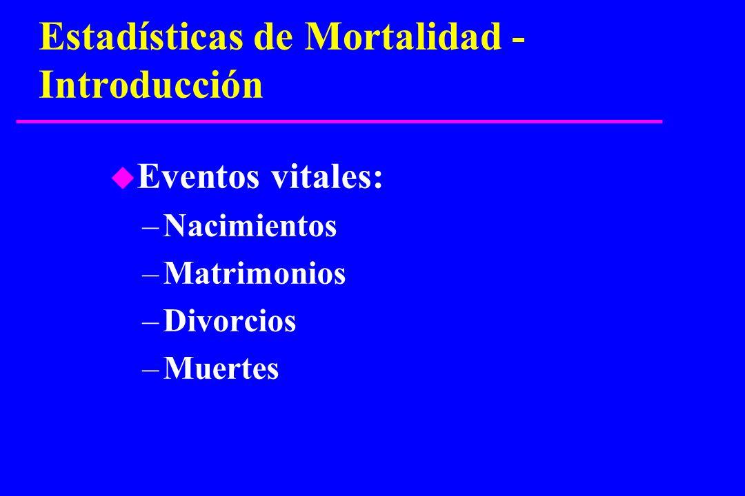 Estadísticas de Mortalidad - Introducción