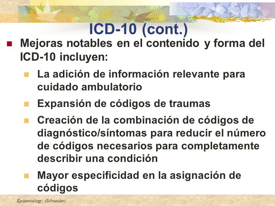 ICD-10 (cont.) Mejoras notables en el contenido y forma del ICD-10 incluyen: La adición de información relevante para cuidado ambulatorio.