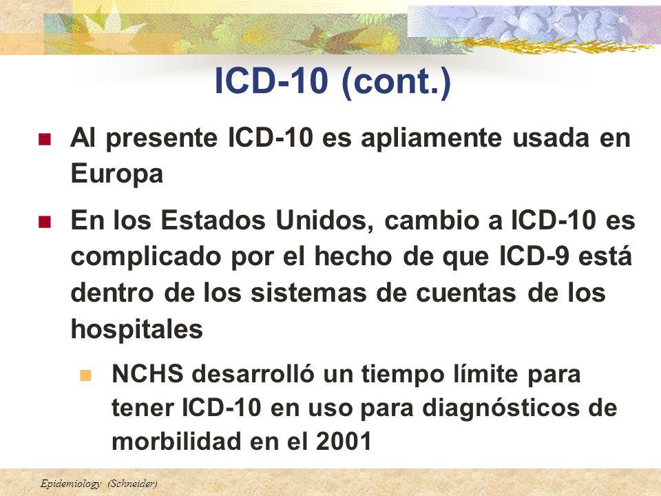 ICD-10 (cont.) Al presente ICD-10 es apliamente usada en Europa