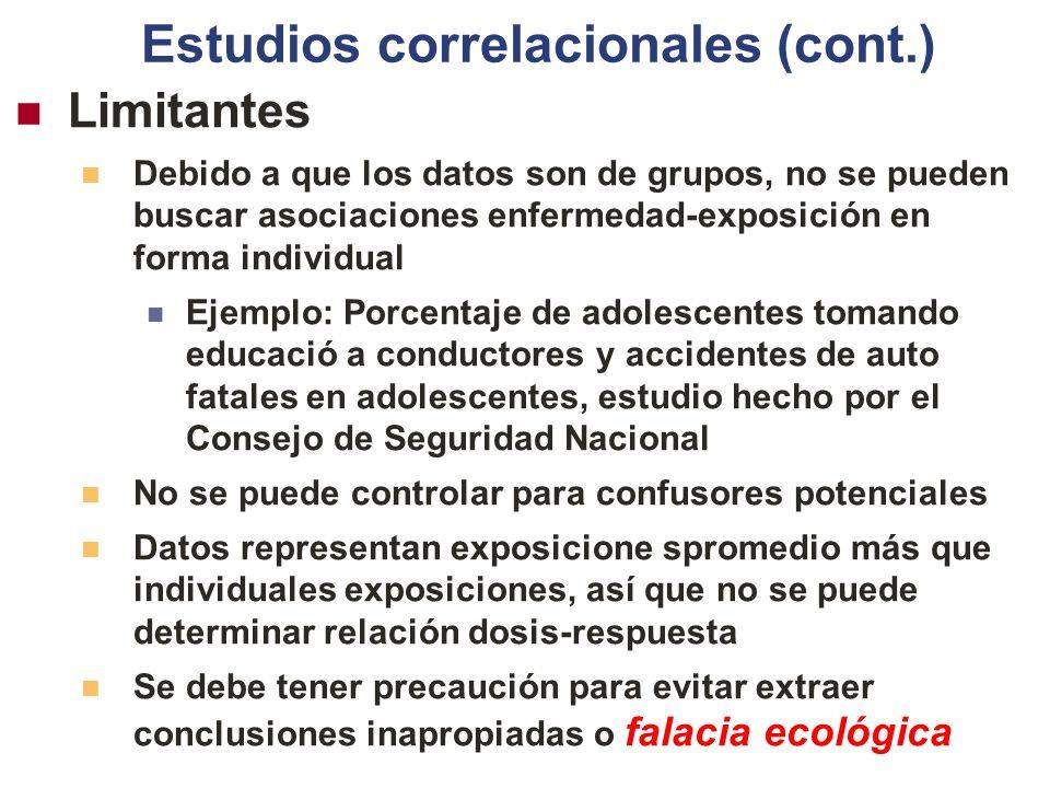 Estudios correlacionales (cont.)