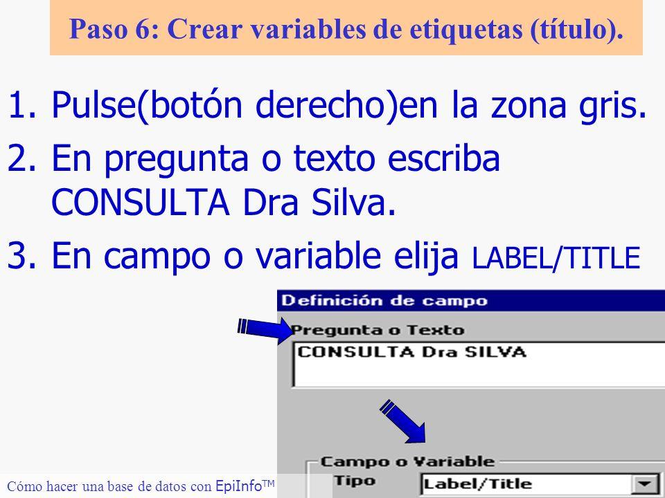 Paso 6: Crear variables de etiquetas (título).