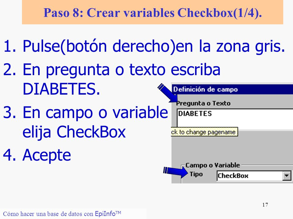 Paso 8: Crear variables Checkbox(1/4).