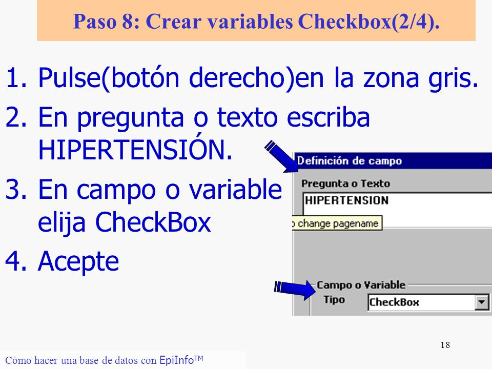 Paso 8: Crear variables Checkbox(2/4).