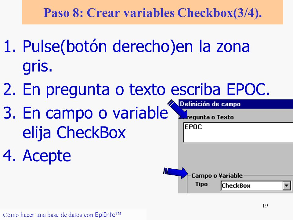 Paso 8: Crear variables Checkbox(3/4).