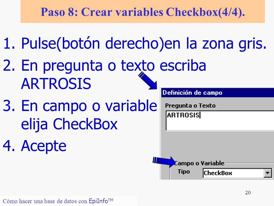 Paso 8: Crear variables Checkbox(4/4).