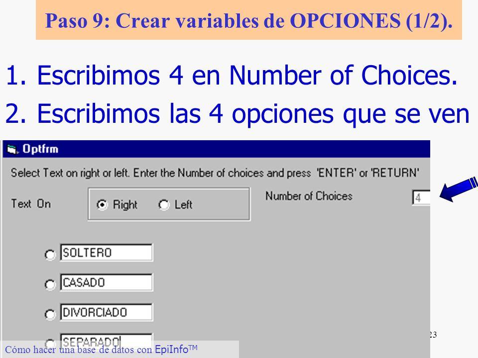 Paso 9: Crear variables de OPCIONES (1/2).