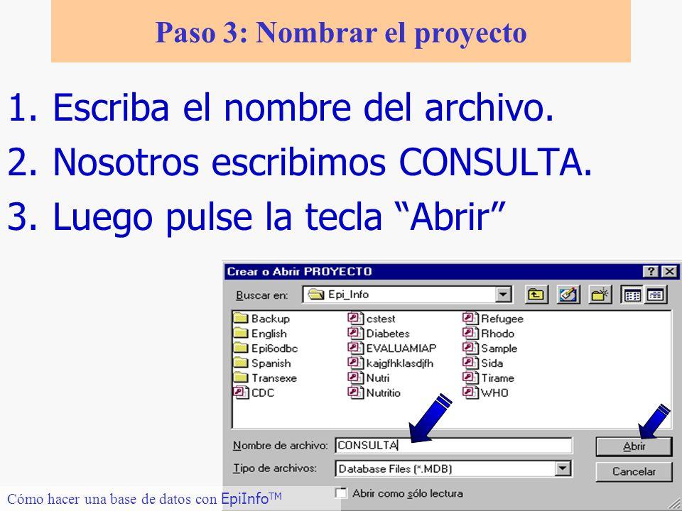 Paso 3: Nombrar el proyecto