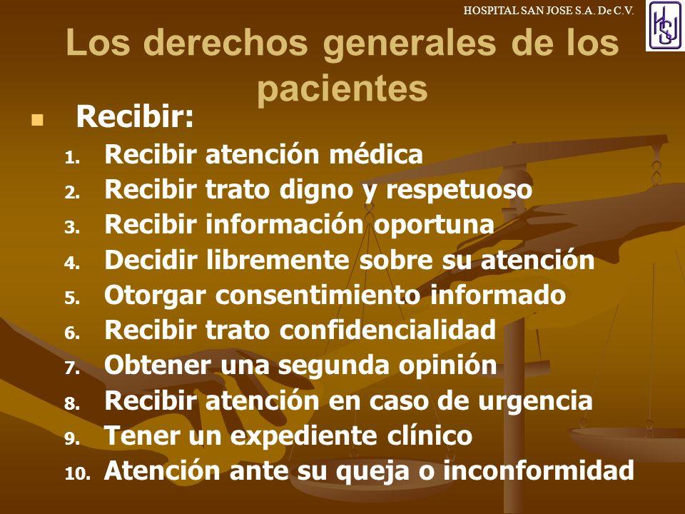 Los derechos generales de los pacientes