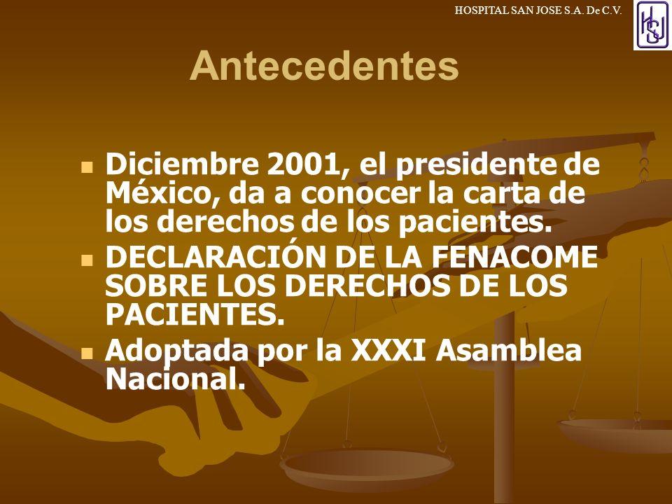 3/24/2017 Antecedentes. Diciembre 2001, el presidente de México, da a conocer la carta de los derechos de los pacientes.