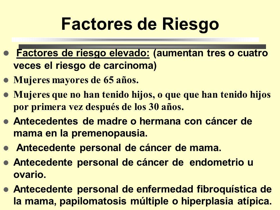 Factores de Riesgo Factores de riesgo elevado: (aumentan tres o cuatro veces el riesgo de carcinoma)