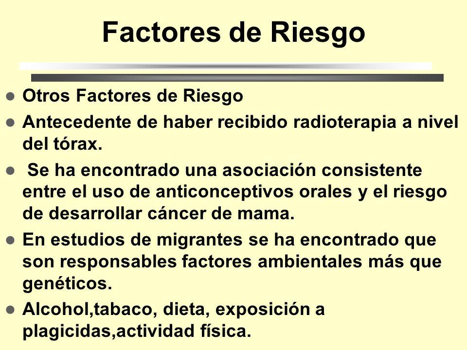 Factores de Riesgo Otros Factores de Riesgo