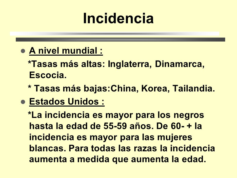 Incidencia A nivel mundial :