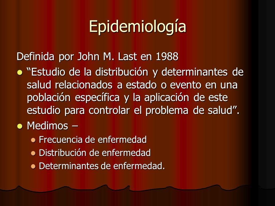 Epidemiología Definida por John M. Last en 1988