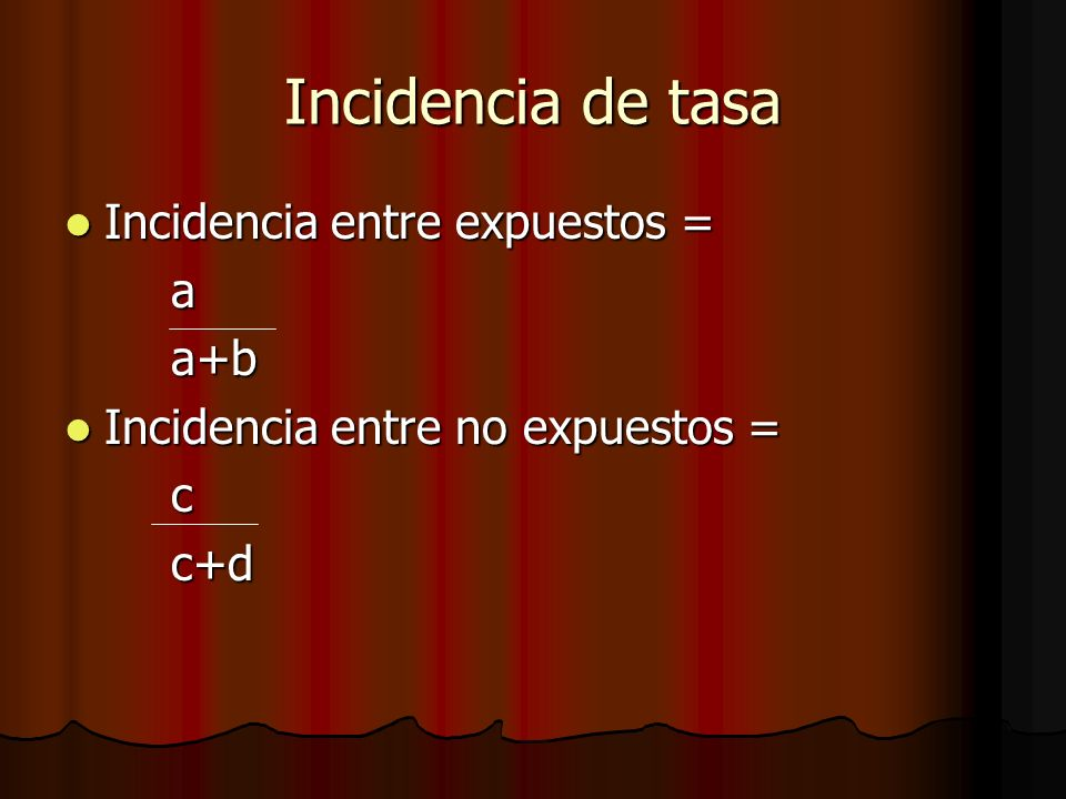Incidencia de tasa Incidencia entre expuestos = a a+b