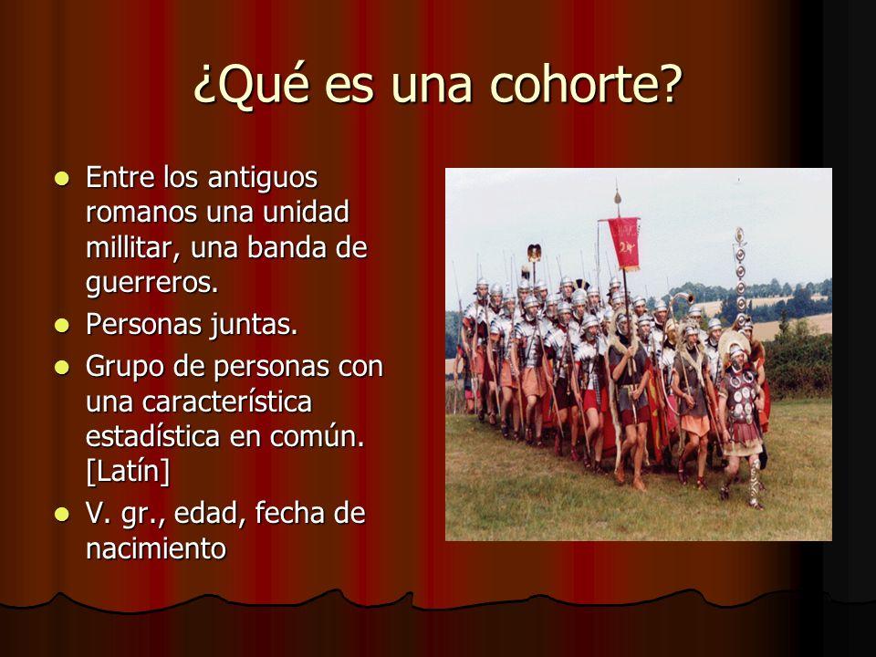 ¿Qué es una cohorte Entre los antiguos romanos una unidad millitar, una banda de guerreros. Personas juntas.