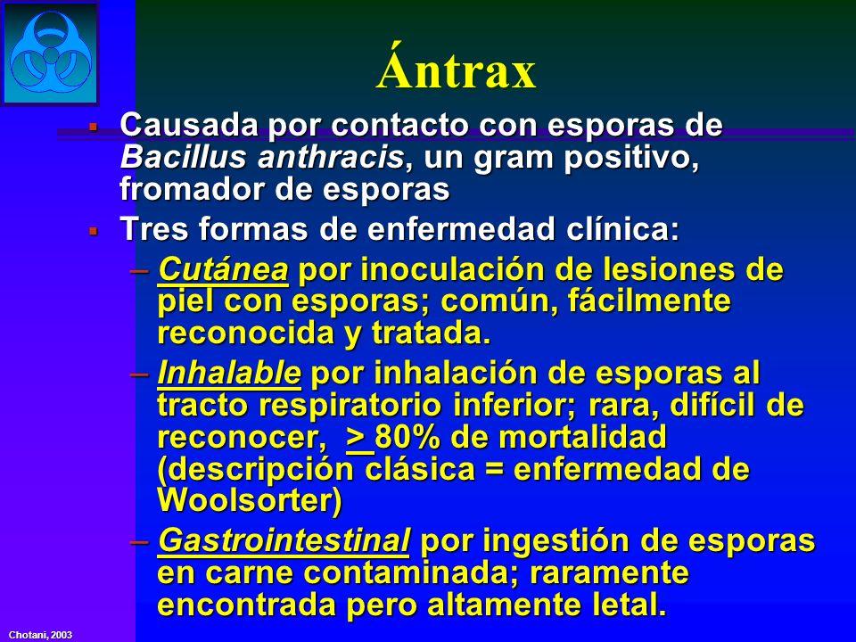 Ántrax Causada por contacto con esporas de Bacillus anthracis, un gram positivo, fromador de esporas.