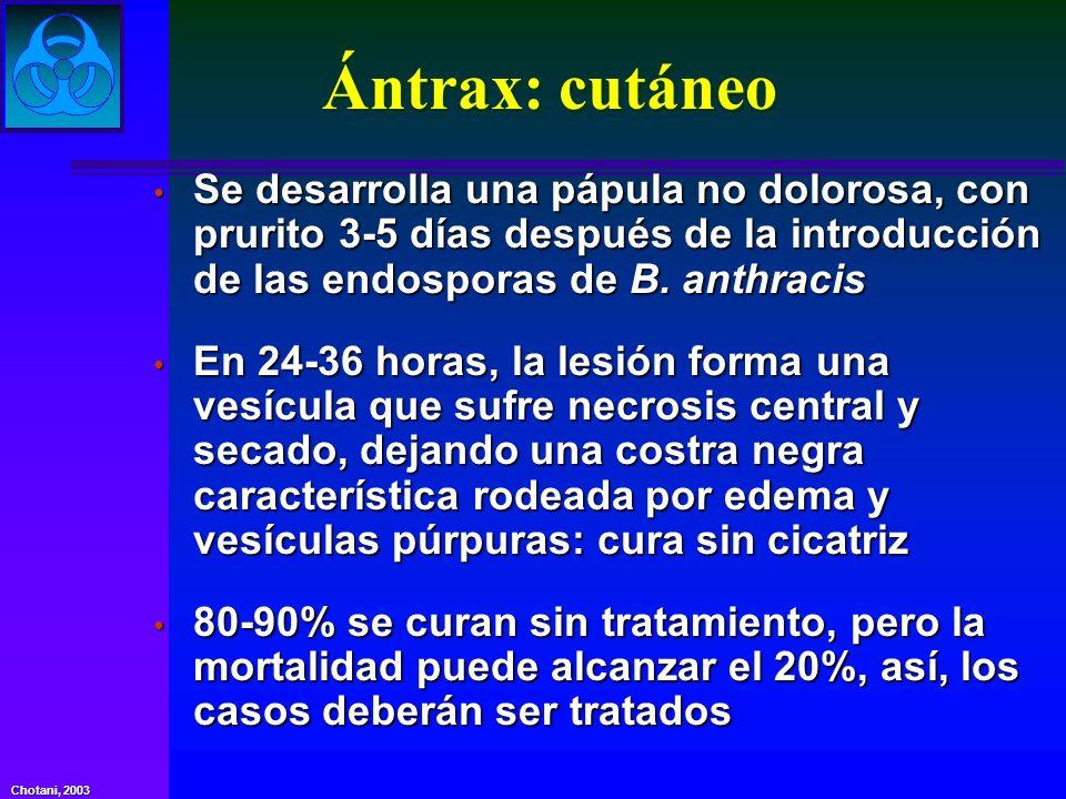 Ántrax: cutáneo Se desarrolla una pápula no dolorosa, con prurito 3-5 días después de la introducción de las endosporas de B. anthracis.