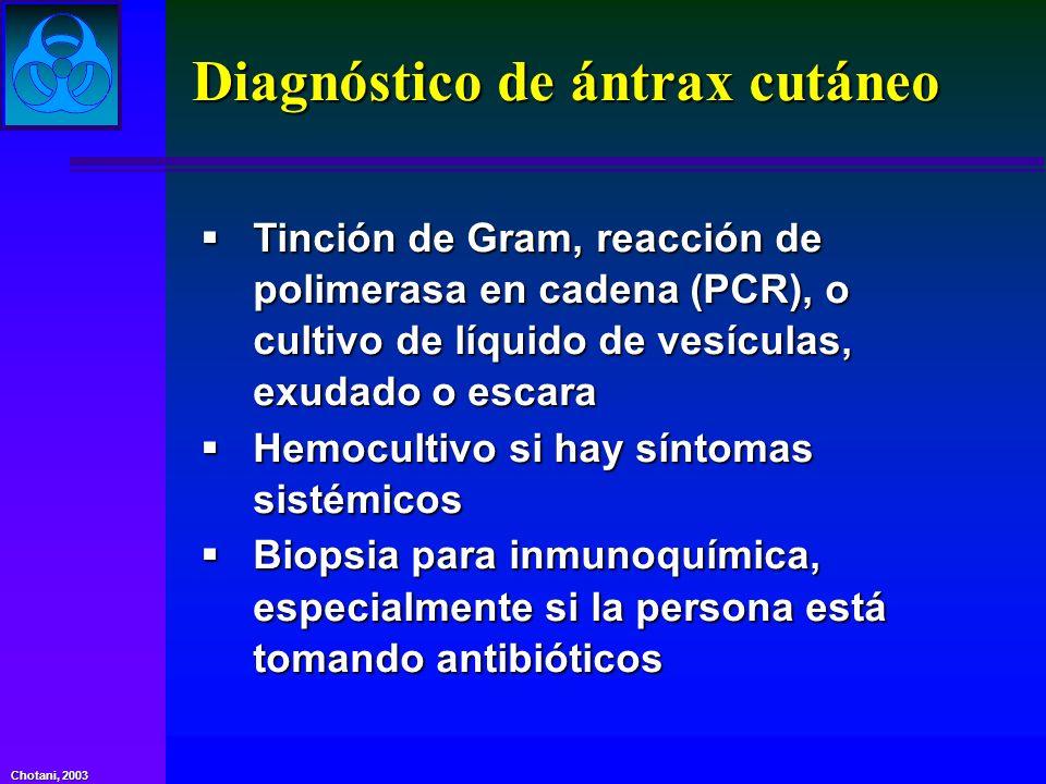 Diagnóstico de ántrax cutáneo