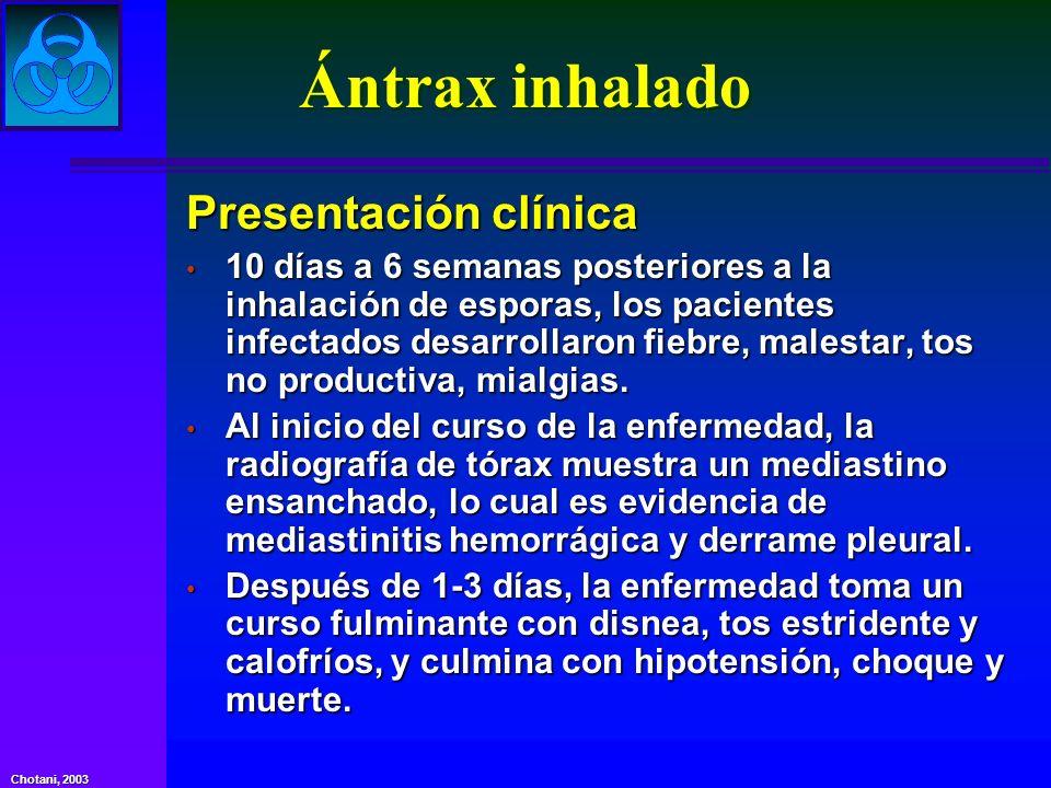 Ántrax inhalado Presentación clínica