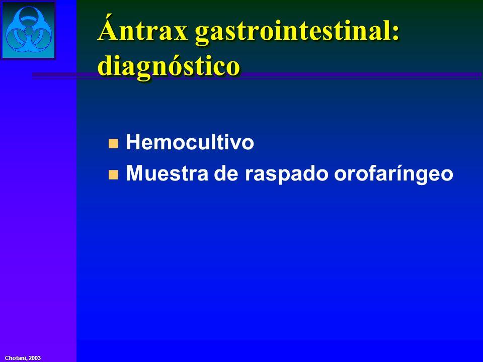 Ántrax gastrointestinal: diagnóstico