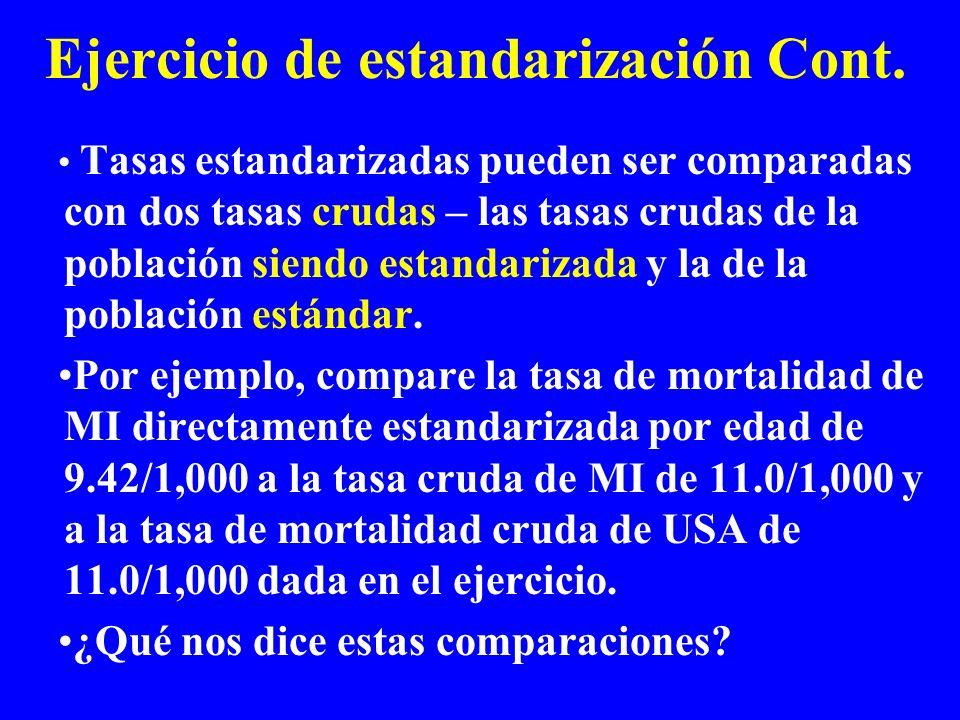 Ejercicio de estandarización Cont.