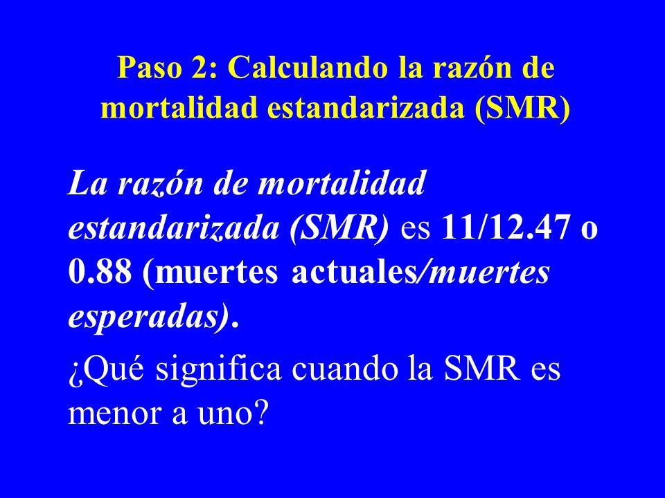 Paso 2: Calculando la razón de mortalidad estandarizada (SMR)