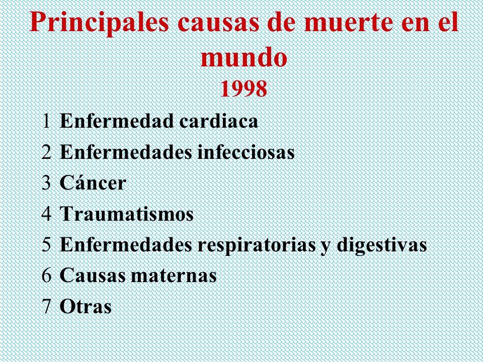 Principales causas de muerte en el mundo 1998