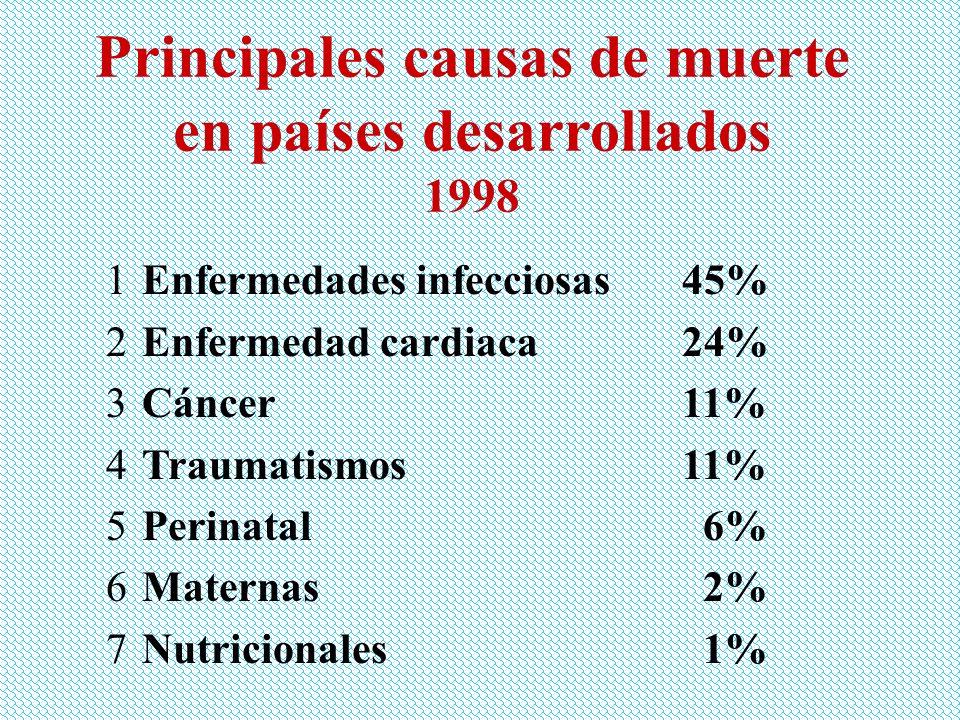 Principales causas de muerte en países desarrollados 1998