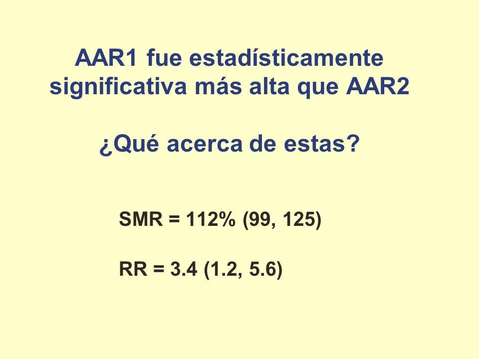 AAR1 fue estadísticamente significativa más alta que AAR2 ¿Qué acerca de estas