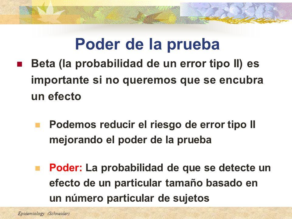 Poder de la prueba Beta (la probabilidad de un error tipo II) es importante si no queremos que se encubra un efecto.