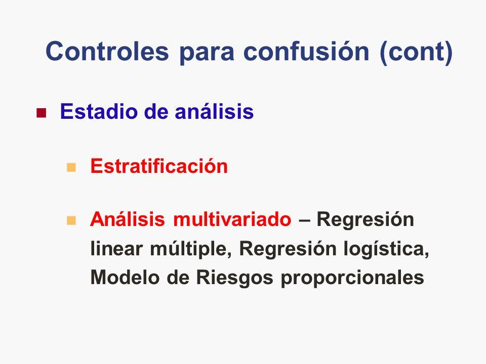 Controles para confusión (cont)