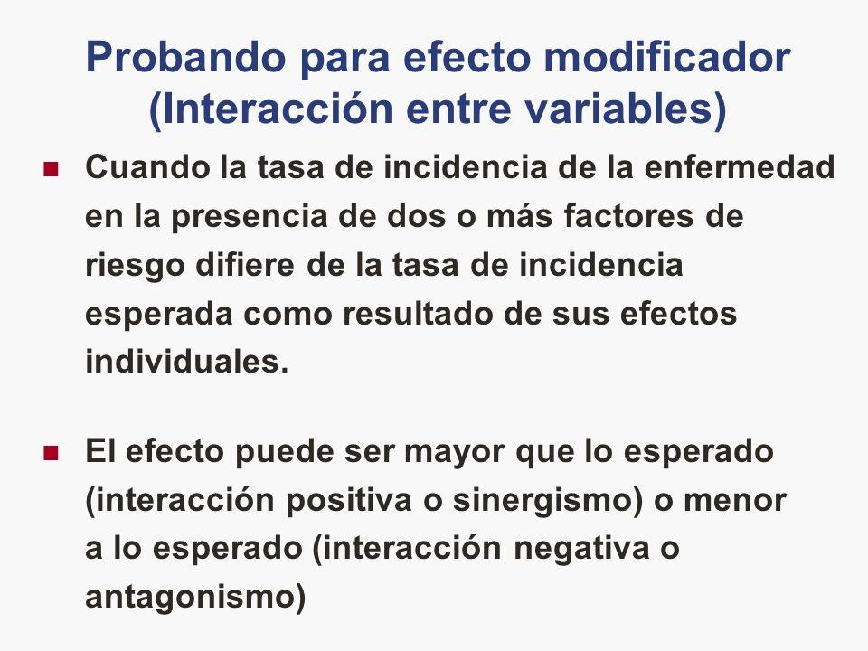 Probando para efecto modificador (Interacción entre variables)
