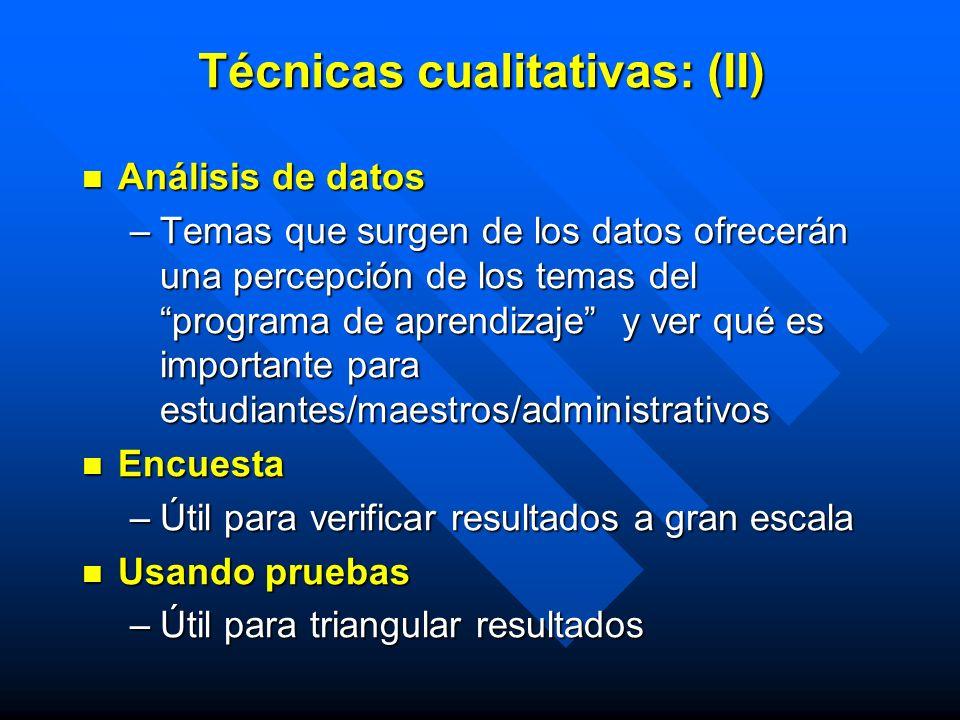 Técnicas cualitativas: (II)