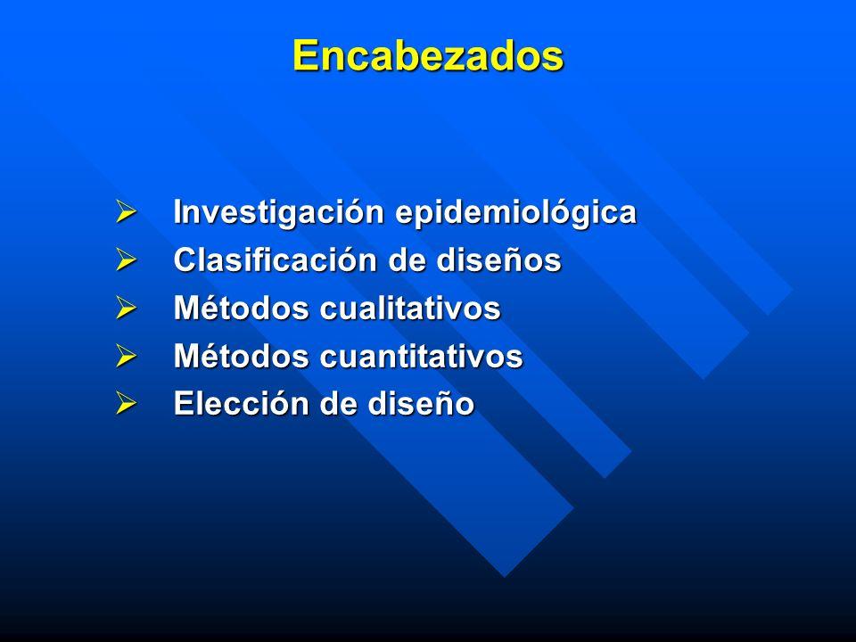 Encabezados Investigación epidemiológica Clasificación de diseños