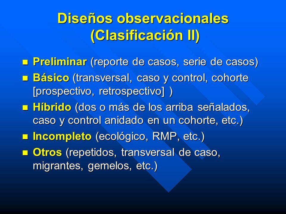 Diseños observacionales (Clasificación II)