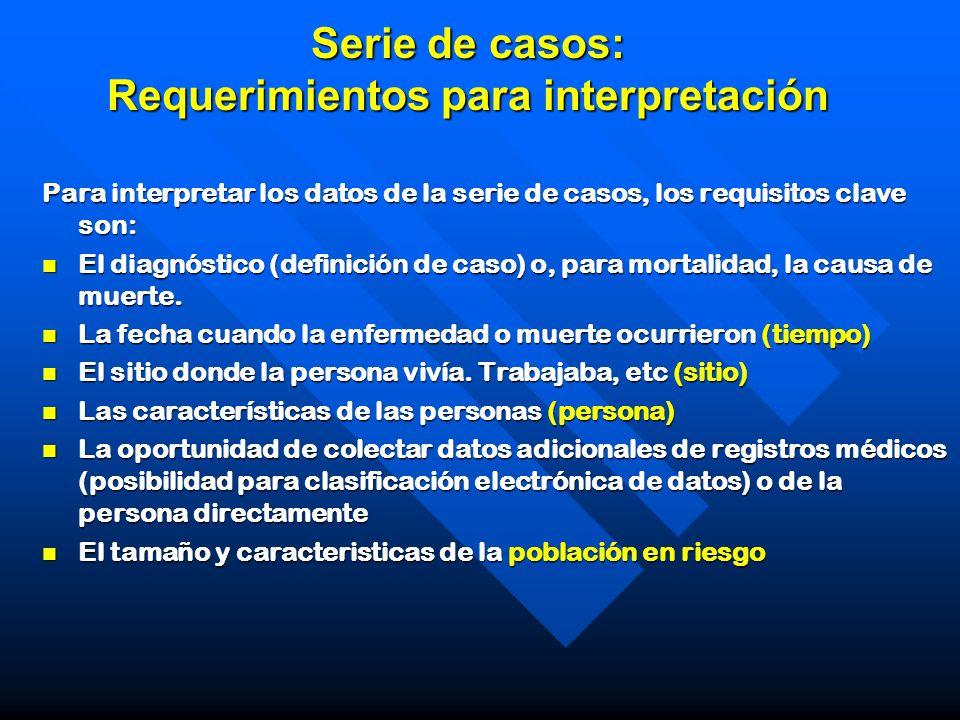 Serie de casos: Requerimientos para interpretación