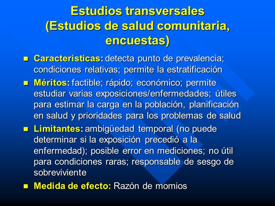 Estudios transversales (Estudios de salud comunitaria, encuestas)