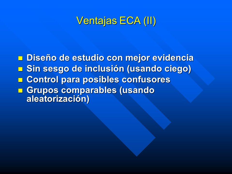 Ventajas ECA (II) Diseño de estudio con mejor evidencia