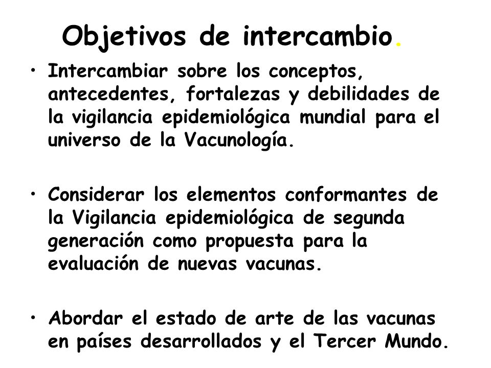 Objetivos de intercambio.