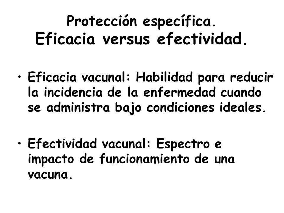 Protección específica. Eficacia versus efectividad.