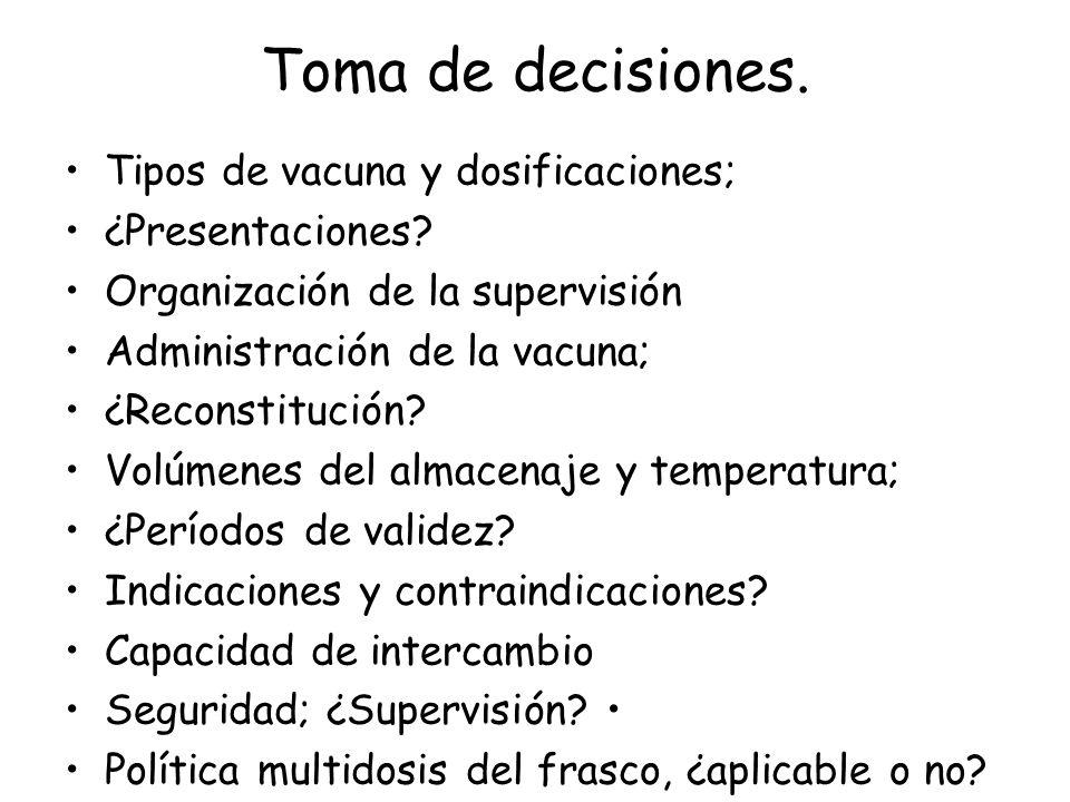 Toma de decisiones. Tipos de vacuna y dosificaciones; ¿Presentaciones