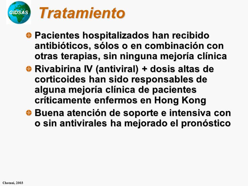 Tratamiento Pacientes hospitalizados han recibido antibióticos, sólos o en combinación con otras terapias, sin ninguna mejoría clínica.