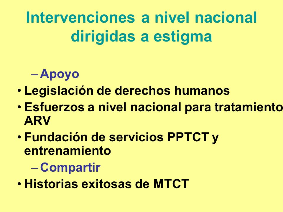 Intervenciones a nivel nacional dirigidas a estigma