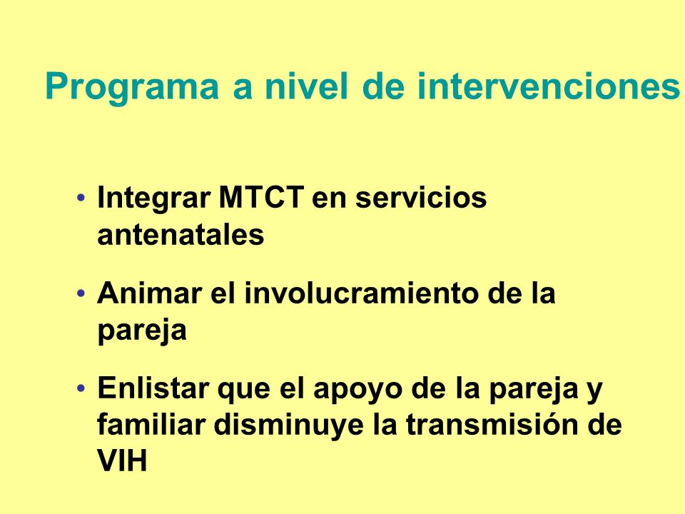 Programa a nivel de intervenciones
