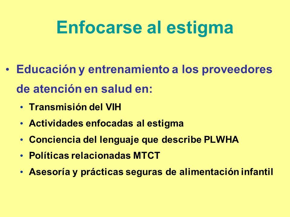 Enfocarse al estigmaEducación y entrenamiento a los proveedores de atención en salud en: Transmisión del VIH.